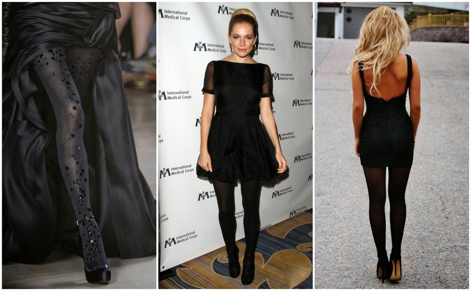 Vestido negro con medias negras y botas