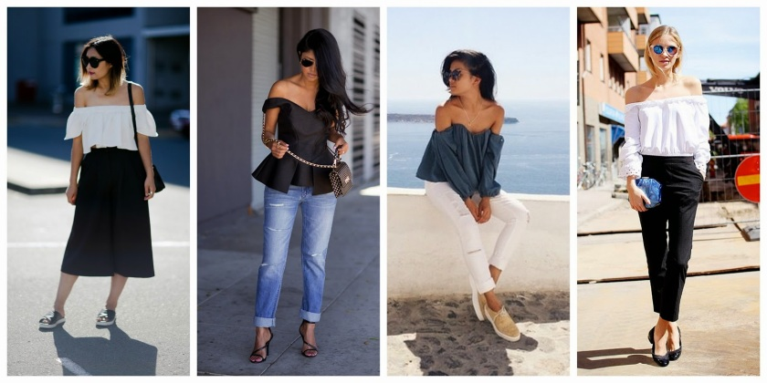 how to wear off shoulder top trend
